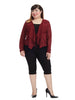 Sheer Sleeve Jacket In Ruby