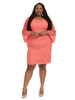 Trumpet Sleeve Dress In Coral Reef