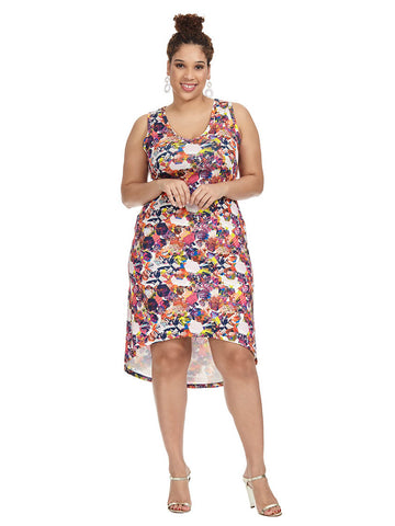 Collage Printed Hi-Lo Tank Dress