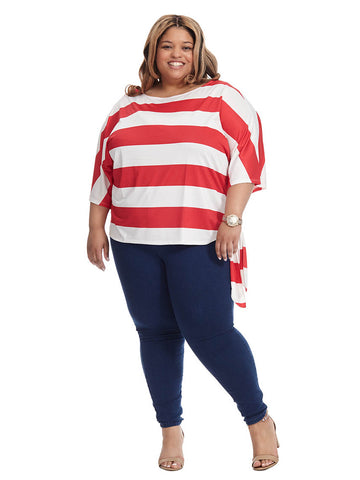 Red & White Stripe Margaux Top