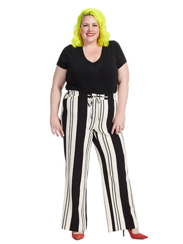 Black And White Stripe Wide Leg Pants