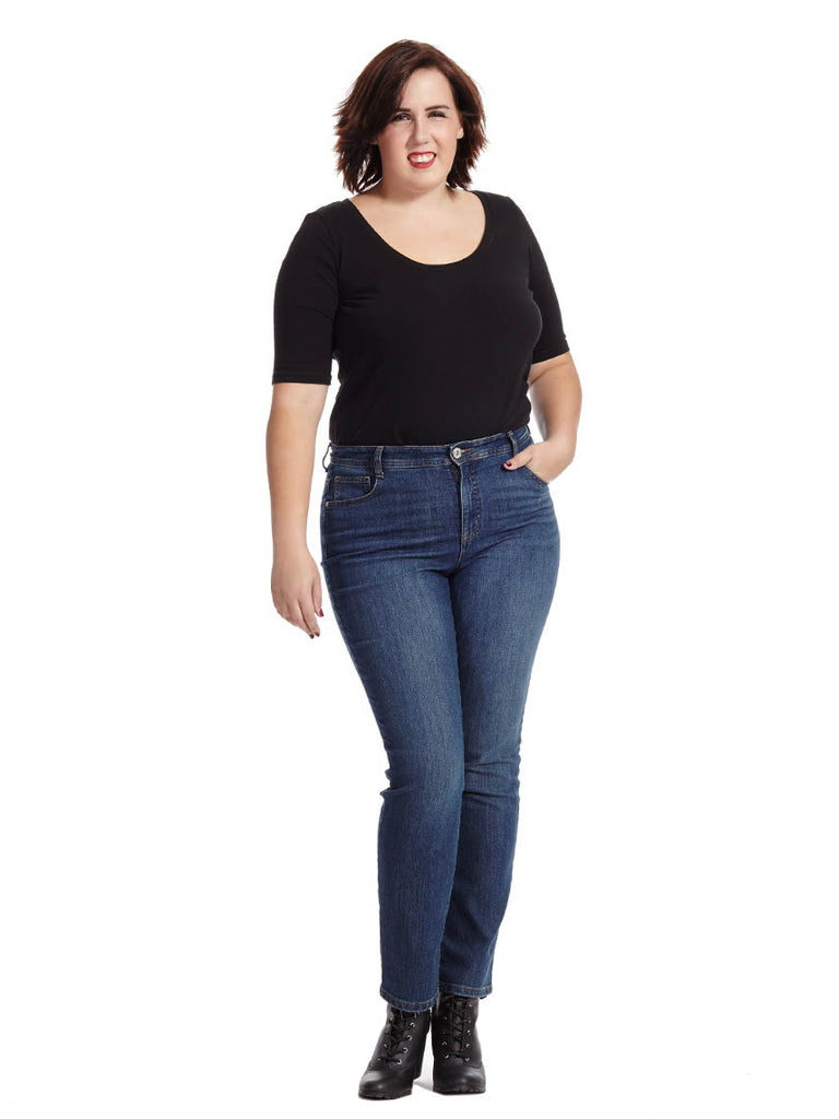 Tummy Control Straight Leg Jean In Rinse-Regular
