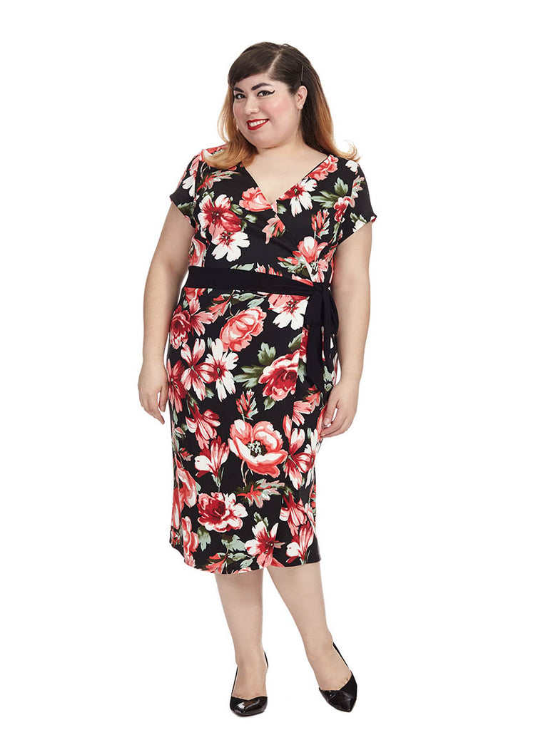 Braylee Dress In Red Rose Print