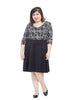 Skater Dress In Black & Ivory Ikat