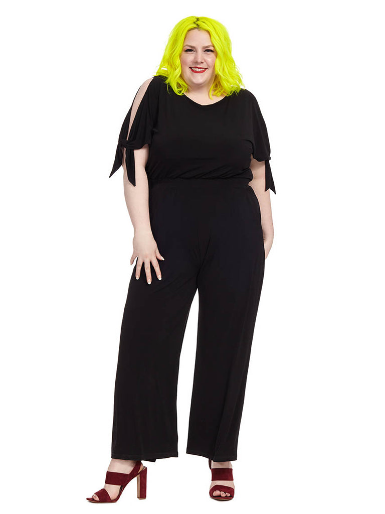 Cold Shoulder Jumpsuit In Black