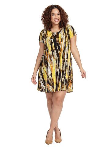 Brushed Yellow Maggie Trapeze Dress