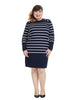 Striped Sweater Dress with Button Detail