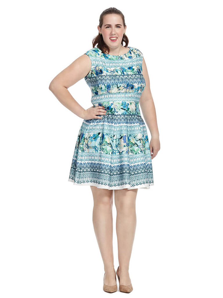 Mixed Print Dress In Green & Blue