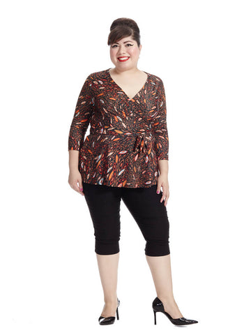 Marquise Swirl Faux Wrap Top