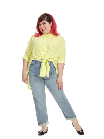 Sunny Lime Button Down Boxy Tee