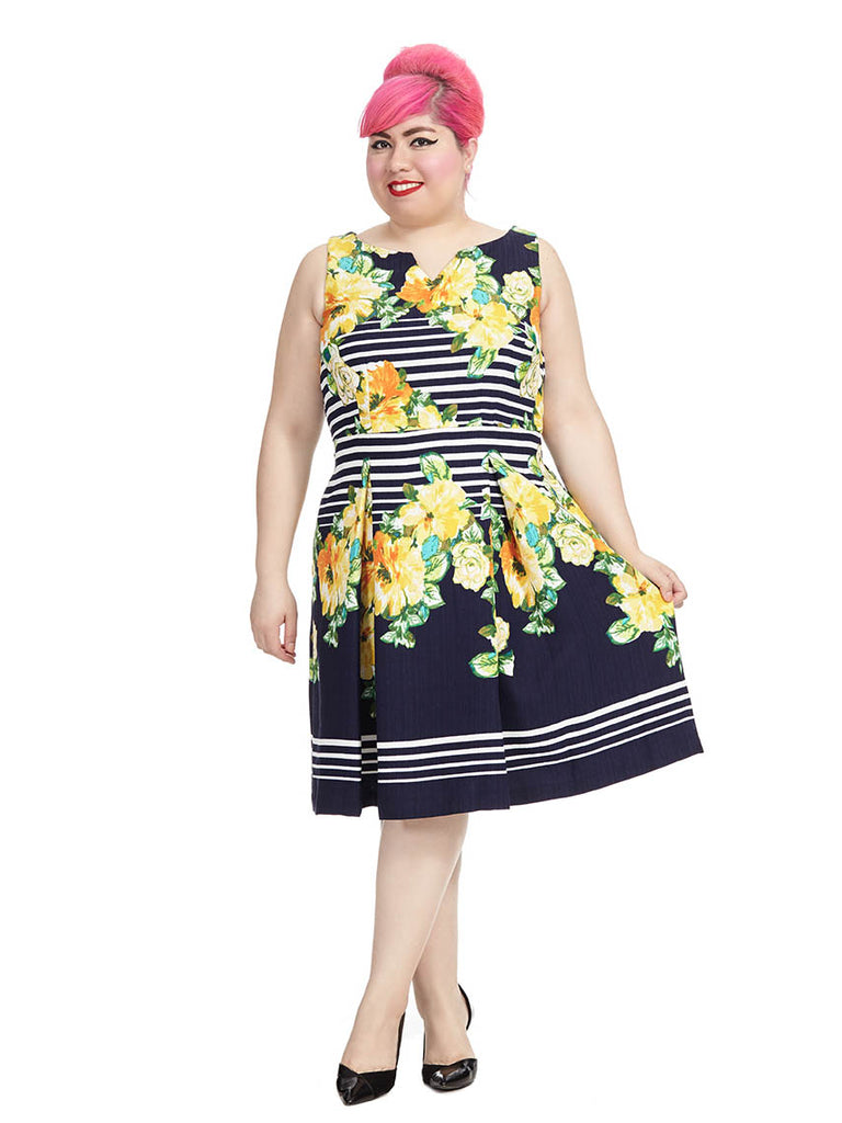 Fit & Flare Floral Stripe Dress