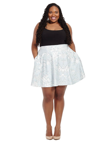 Ice Geometric Printed Scuba Skater Skirt