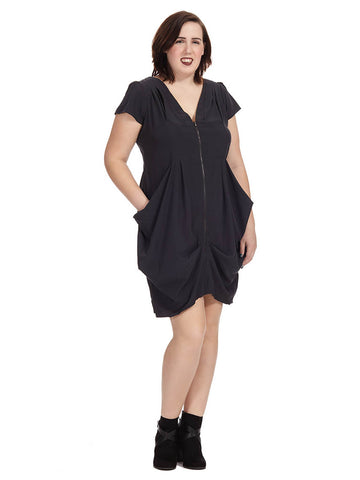 Zip Front Tunic Dress In Smoke