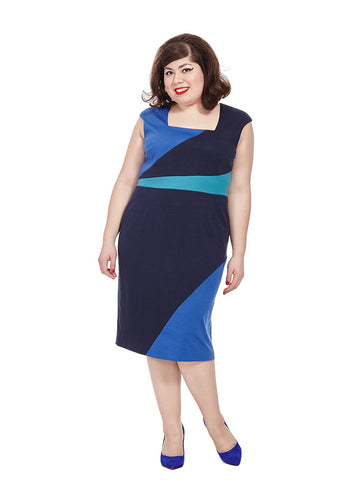 Lucia Dress In Blue Colorblocking