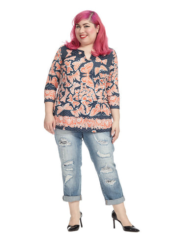 Butterfly Printed Notched Tunic