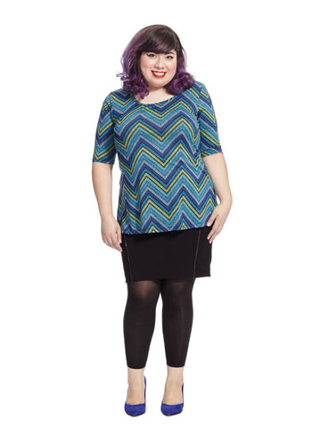 Thea Tunic In Chevron Blues