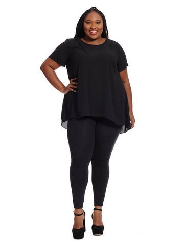 Hi-Low Hem Blouse In Black