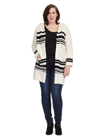 Stripe Hooded Cardigan