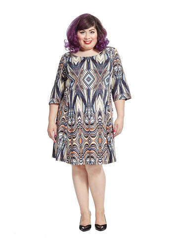 Fit & Flare Dress In Kaleidoscope Print
