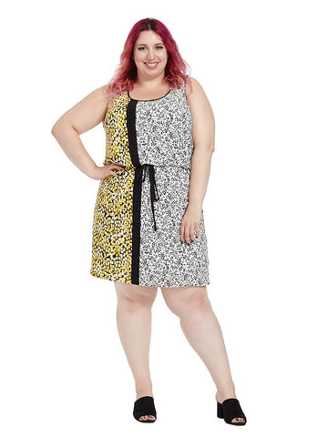 Drawstring Dress In Yellow Side-Border Print