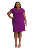 V-neck Sheath Dress In Tyrian Purple