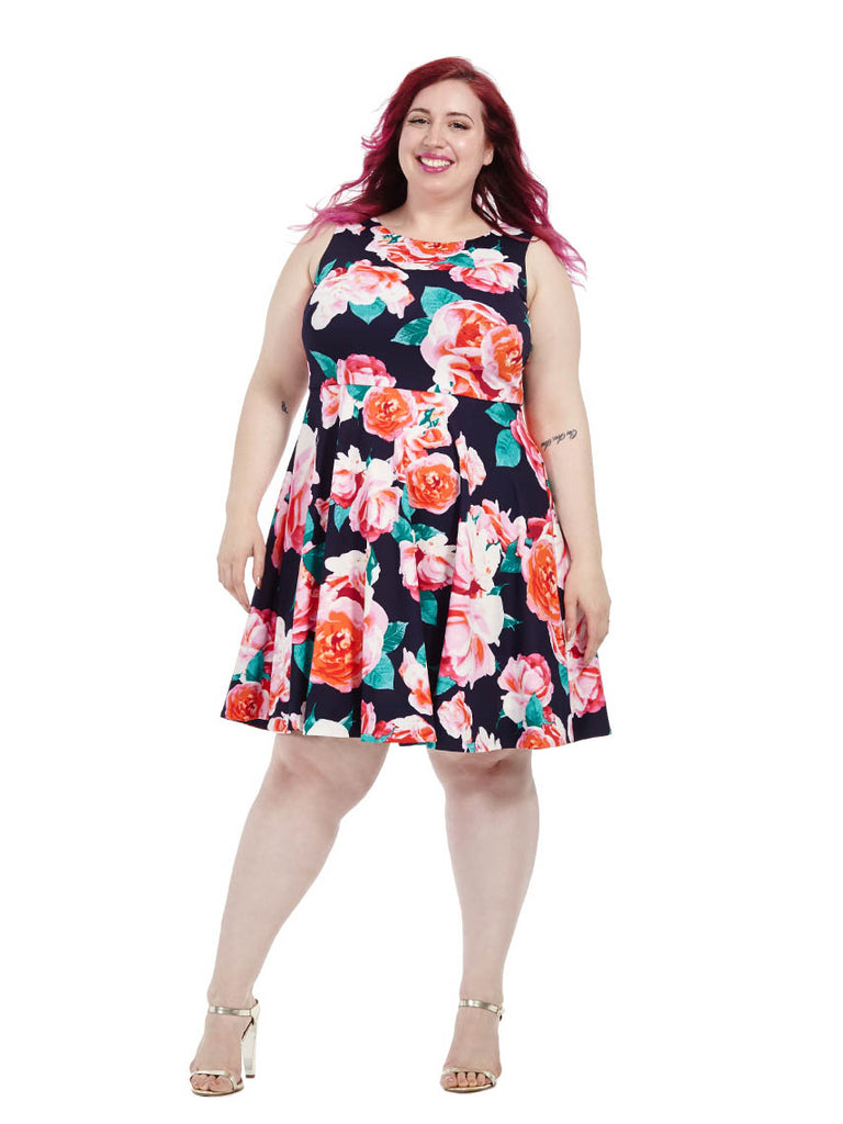 Scuba Dress in Blooming Rose Print