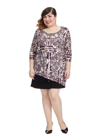 Radiant Printed Long Sleeve Asymmetric Tunic