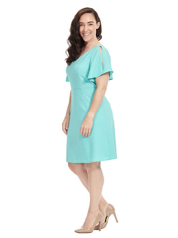 Aruba Blue Split Sleeve Dress