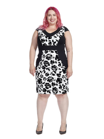 Black & White Rose Print Bodycon Dress