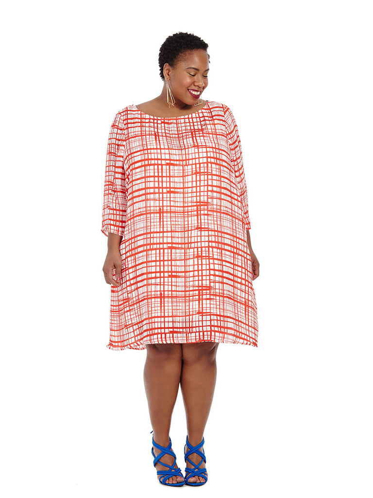 Piers Abstract Plaid Shift Dress