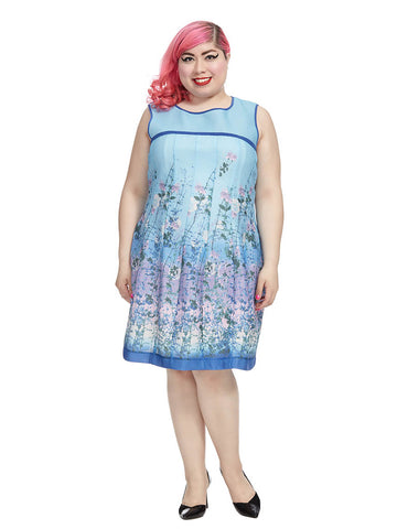 Wild Garden Dress In Blue