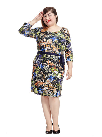 Floral Bloom Belted Shift Dress