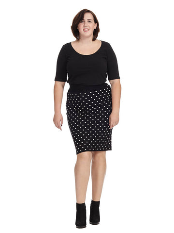 Polka Dot Fitted Skirt