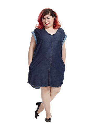 Colorblock Chambray Dress