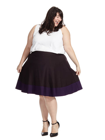Plum Colorblock Skater Skirt