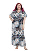 Abstract Printed Drawstring Maxi Dress
