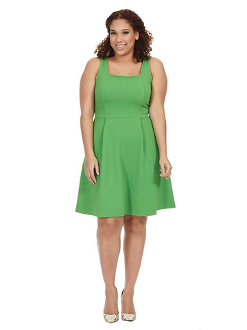 Fit & Flare Dress In Kelly Green