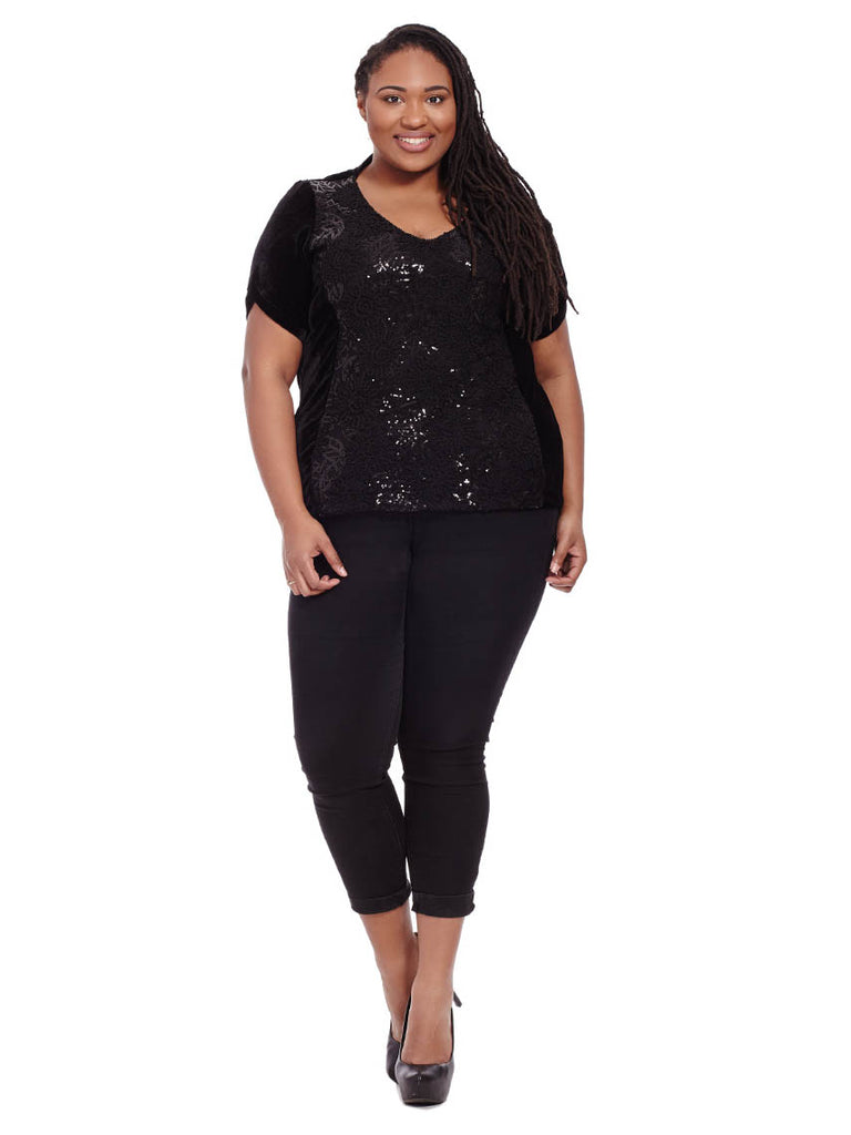 Black Velvet & Sequin Lace Top