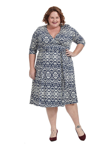 Essential Wrap Dress In Navy Geo Print