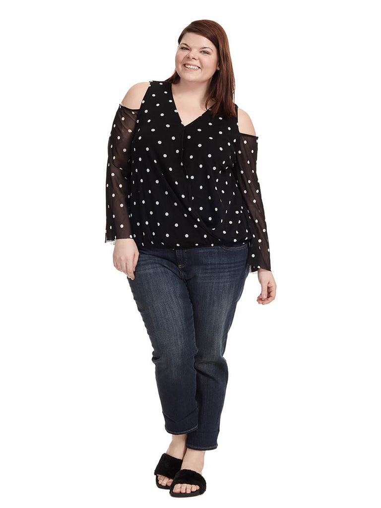 Cold Shoulder Top In Dot Print