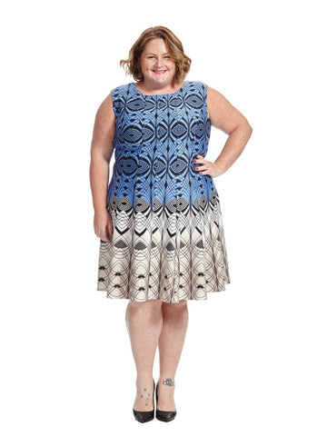 Two-Tone Geometric Print Dress In Blue