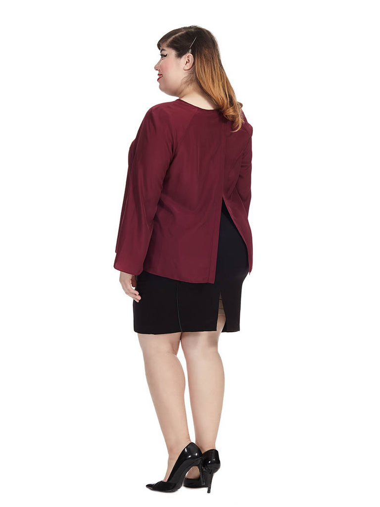 Pipper Slit Back Blouse In Wine