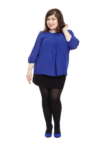 Pleat Front Blouse In Mazarine Blue
