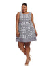 Boat Neck Dress In Octagon Print