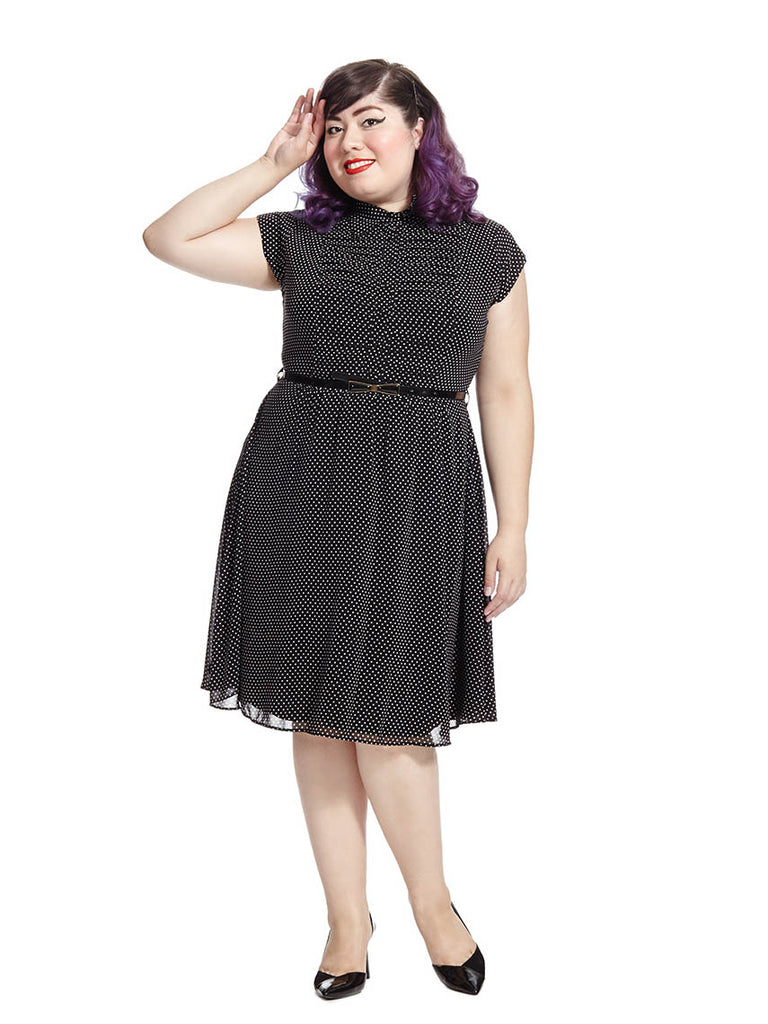 Pleated Front Shirt Dress In Dot Print