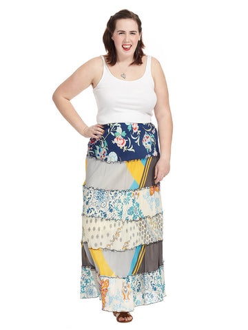 Mixed Print Tier Skirt
