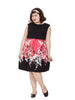 Black & Pink Floral Dress With Sash