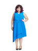 Asymmetrical V-neck Dress in Royal Blue