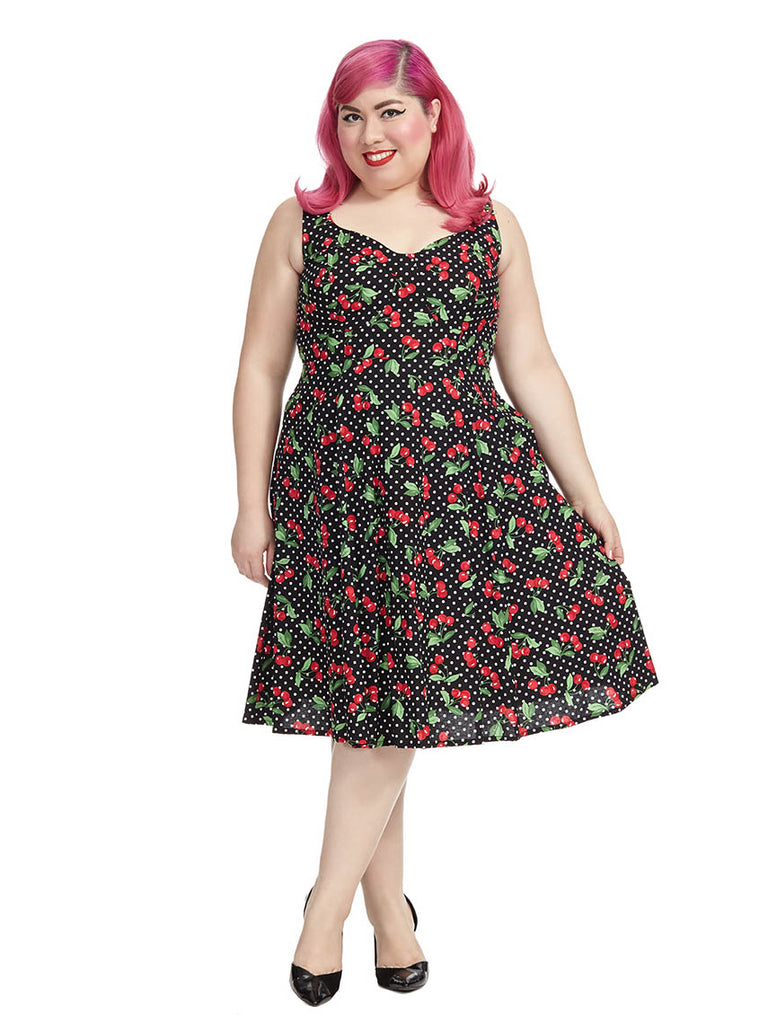 Doris Dress In Black Cherry Dots