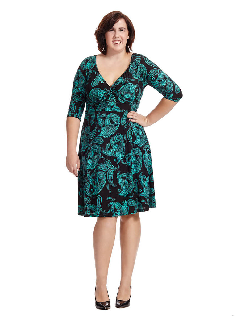 Alex Dress In Paisley Emerald